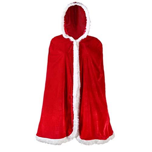 Hula Kostüm Boy - QTBWen Elaborate Deluxe Red Velvet Christmas Santa Claus Party Kostüm Props Wind Red Cloak(None H01 1)