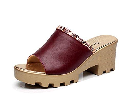 DANDANJIE Femmes Chaussures en Cuir Confort D'été Sandales Wedge Talon Peep Toe pour Casual Blanc Noir Rouge Vert Taille 33-43