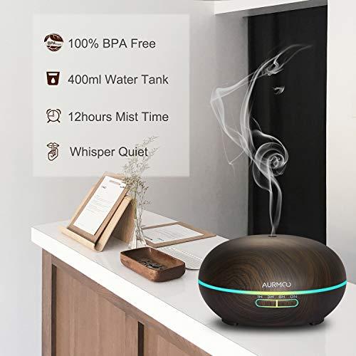 Aroma Diffuser Aromatherapie Luftbefeuchter 400ml, AURMOO Ultraschall Aroma Öle Diffusor Holzmaserung mit 14 Farben LED Lichter und Auto Abschaltung für Zuhause, Yoga, Büro,