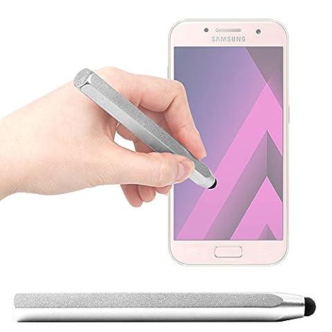Stylet tactile gris pour Samsung Galaxy A3 (2017), A5 (2017) et A7 (2017) Smartphones - forme crayon ergonomique