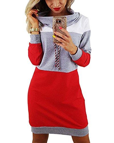 Minetom Winter Damen Pullover Langarm Jacke Lange Top Sweatshirt Pullover Hohem Hals Tops Jumper Grau DE 38 (Hals Chiffon Hohen Top)