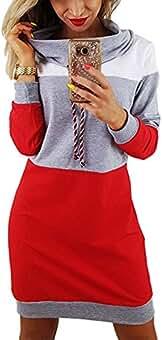 07cd2aea4b8d Minetom Donna Eleganti Manica Lunga Felpe Abito Corti Autunno Inverno  Sciolto Pullover Camicia Tops Oversize Sweatshirt