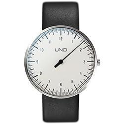 Botta-Design UNO - Reloj de pulsera, titanio, esfera blanca, correa de piel