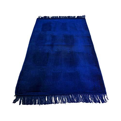 Muslim Gebetsteppich aus weichem Stoff ohne Muster 120x70cm Blau