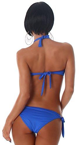 Esther Queen Damen Push-Up Neckholder-Bikini im eleganten Design mit Brosche verziert Blau