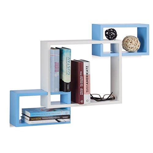 Relaxdays 10021805_361 mensole da parete cube, ripiani in legno mdf, hxlxp: 48 x 70,5 x 10 cm, bianco-blu