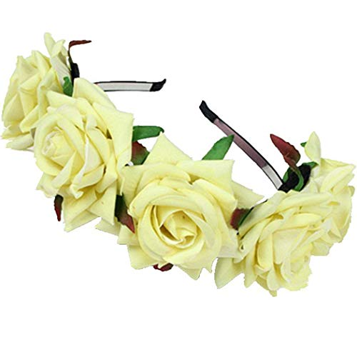 (FORLADY Rose Blume Ring Hoop Beach Holiday Shooting Zubehör Blumen Blumenstirnband Crown Garland - Einstellbare Blumenkranz für Frauen Mädchen Festival Urlaub)