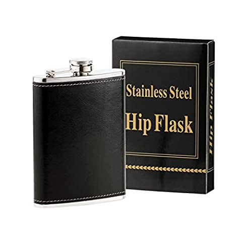Heesung Stainless Steel Hip Flask Wrapped Black Leather , Whiskey Hip Flask And Liquor Flask 8 OZ ,Metal Vintage Flask Attached Screw on Cap