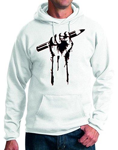 felpa con cappuccio Libertà di stampa, libertà d'espressione - rivoluzione, matita, mano, disegno - S M L XL XXL maglietta by tshirteria bianco