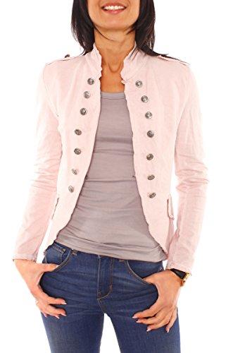 Damen Vintage Uniform Military Admiral Style Sweat Jersey Blazer Sakko Jacke Kurz Knopfleiste Offen Einfarbig Rosé XS 34 (S)