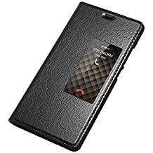 AddGuan Huawei P9 Funda,Piel Genuina Delgado Caso Tirón ,Elegante Ventana vista , PC Material inferior cáscara Para Huawei P9 - Negro