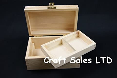 (PD6) TREASURE CHEST BOX WITH TRAY - 2 DRAWERS PLAIN WOODEN BOX 11 X 12 X 10,5CM