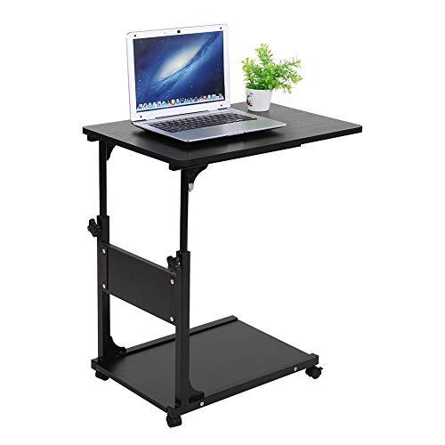 Cocoarm Laptop Tisch Computertisch Einstellbare Schreibtisch Pflegetisch Höhenverstellbar Beistelltisc Sofatisch mit 4 Rollen für Home Office Kinderzimmer 60 x 40 x 55-80 cm (Schwarz)