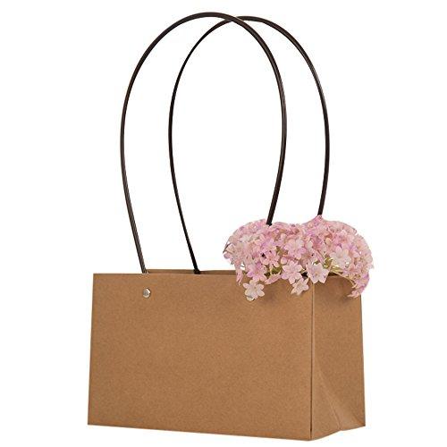 20 Pezzi Wedding Bag Cartoncino Kraft con Manica Plastica Impermeabile Porta Vaso Piantina Fiore Regalo (22*10*13.5+20.5cm)