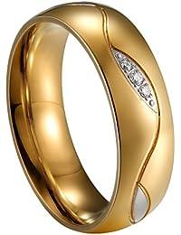 JewelryWe Anillos de Acero Inoxidable para Pareja, Diseño de Hojas de 6 mm, Color