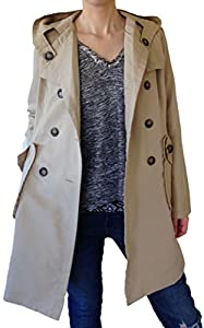 Women's 3/4 Length Trench Coat Style Raincoat Mac Hooded Beige Uk Size 10-12