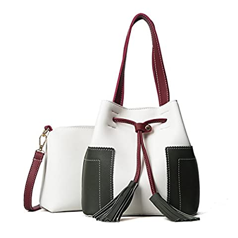 QPALZM 2 Pièces Set Womens Girl's Shoulder Bag Bucket Sac à Main Tassels Retro Embrayage Large,White-OneSize