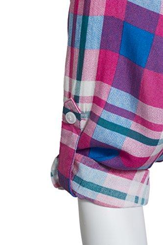 Femmes Robe chemise patte tunique avec ceinture Fuchsia plaid bleu brillant