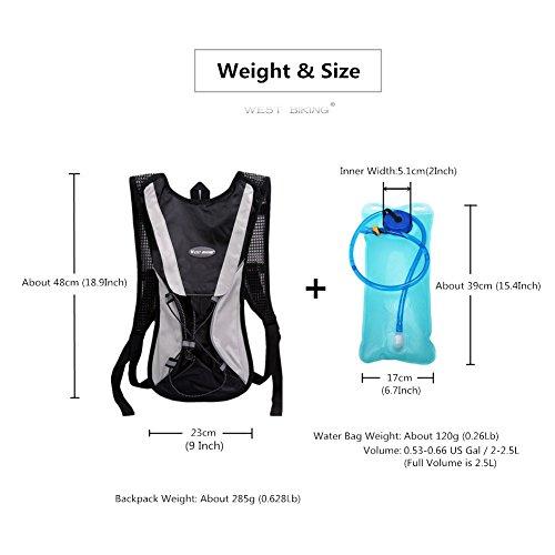West Biking Aktualisiert stärker Hydration Rucksack Rucksack mit Blase für Radfahren Laufen Wandern Klettern Camping–Die meisten leicht Pack mit Wasser Tasche für Outdoor Sports 6Farben Schwarz