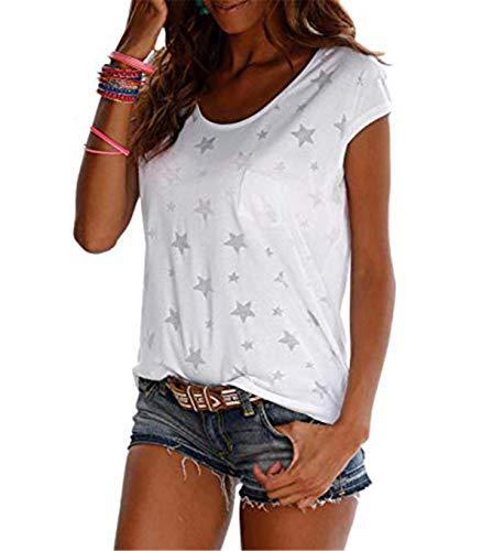 TrendiMax Damen T-Shirt Tops Ärmellos Basic Sommer Shirts Allover-Sternen Druck Sexy Oberteil
