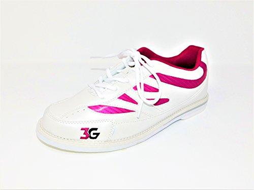 Bowling-Schuhe, 3G Cruze, Damen und Herren, für Rechts- und Linkshänder, 2 Farben, Schuhgröße 36-46 (36 (US-D 6), weiß-pink)