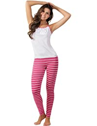 8e152d39b Adriana Arango Women s Pyjamas Set Wrinkled Top Leggings Stripes  8153