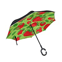 JSTEL Double Layer Inverted Strawberry Umbrella Cars Reverse Windproof Rain Umbrella for Car Outdoor With C Shaped Handle