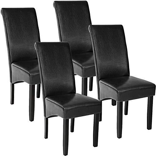 TecTake 4er Set Esszimmerstuhl Kunstleder Stuhl mit hoher Rückenlehne, ergonomische Form, Stuhlbeine aus Hartholz massiv, 106 cm hoch - Diverse Farben - (Schwarz | Nr. 403494)