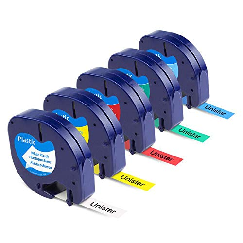 Unistar Kompatibel Etikettenband als Ersatz für Dymo Letratag Plastic Etikettenbänder 12mm x 4m für Dymo LT-110T LT-100H QX 50 XR XM, 5x Kunststoff Letratag Schriftband 91221-91225
