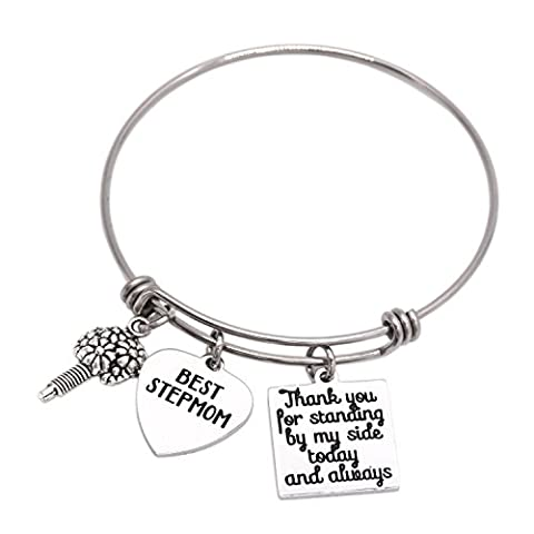 Stepmom Wedding Gift Thank You for Standing by My Side Today and Always Stepmom of The Bride Groom Bracelet