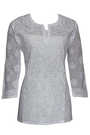 ADA Lucknow Chikankari Handmade Regular Fit Casual Ethnic White Cotton Top Tunic A146425