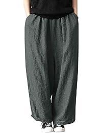 Leinenhosen Damen Hohe Taille Einfarbig Freizeithose Casual Lose Fit beiläufige Hosen Oversized Weite Beinhosen Mode Übergröße Haremshose Baggy Pluderhosen Pants