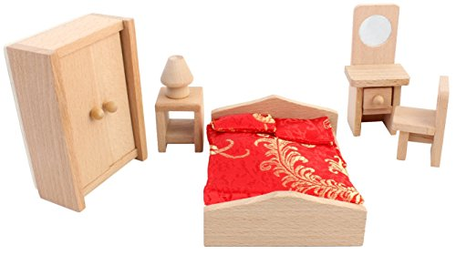 PIGLOO Solid Wood Miniature Toy Dollhouse Bedroom Furniture