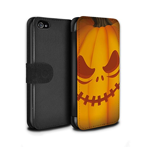 Stuff4 Coque/Etui/Housse Cuir PU Case/Cover pour Apple iPhone 4/4S / Effrayant Design / Citrouille Halloween Collection Effrayant