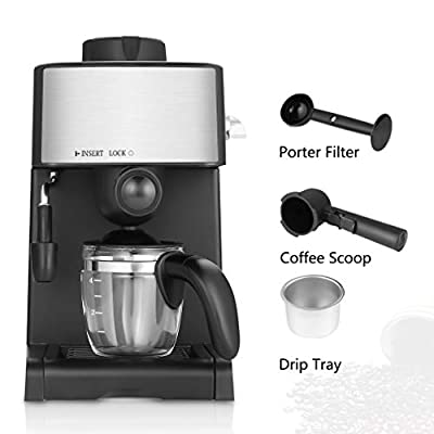 Professional Pump Espresso Coffee Machine Espresso Machine Coffee Maker with Milk Frothing Arm for Home and Office (Black) from Blackpoolaluk