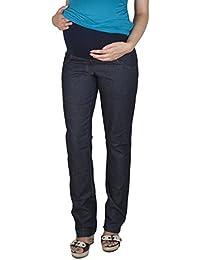 Mija - Komfortable Schwangerschaftshose Denim Umstandshose mit Bauchband 9036