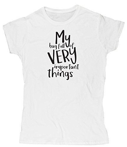 Hippowarehouse My Bag Full of Very Important Things Womens Fitted Short Sleeve t-Shirt (Specific Size Guide in Description)