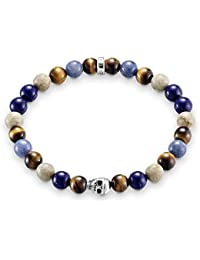 Thomas Sabo Femmes Hommes-Bracelet Rebel at Heart Argent Sterling 925 bleu naturel marron Longeur 17 cm A1532-926-7-L17