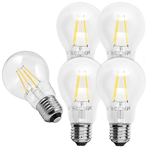 5x mumbi XQ-Lite LED-Lampe E27 4W / 2700 Kelvin / warmweiß / 450 Lumen / Energieklasse A++ (ersetzt E27 40 Watt Glühbirne)
