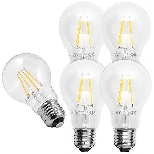 5x mumbi XQ-Lite LED-Lampe E27 4W / 2700 Kelvin / warmweiß / 450 Lumen / Energieklasse A++ (ersetzt E27 40 Watt Glühbirne) (40 W Glühbirne)
