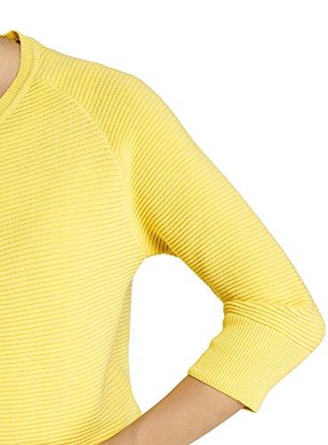 oodji Ultra Damen Strickcardigan Gerippt mit Reißverschluss Gelb (5100N)