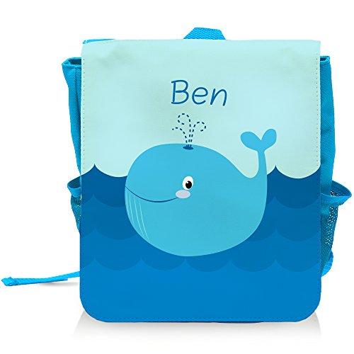 Kinder-Rucksack mit Namen Ben und schönem Motiv mit Blau-Wal für Jungen | - Ben 10 Rucksack