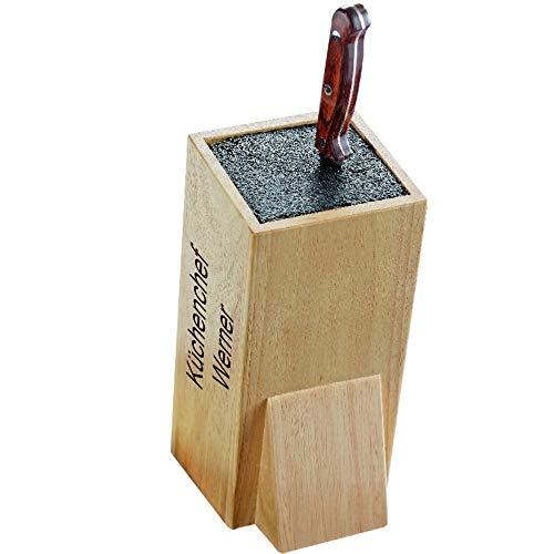 Sterngraf Messerblock Wonder MIT Gravur (z.B. Namen) ohne Messer, von Esmeyer, Gummibaumholz, mit variablem Kunststoffeinsatz, Messer frei plazierbar