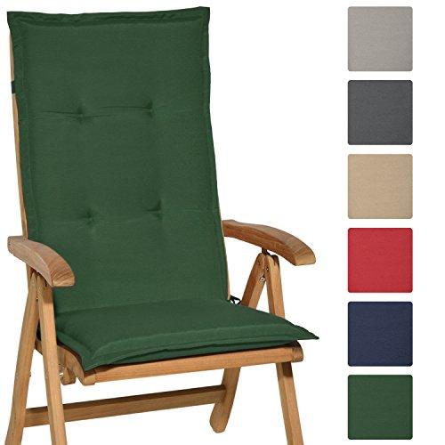 Beautissu® Hochlehner Auflage Loft HL 120x50x6cm Sitzkissen Rückenkissen mit Schaumkern-Füllung Dunkel-Grün