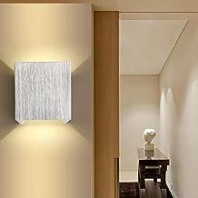 AGPtek 3W Apliques de Pared de LED Lámpara de Pared Morderna de Escritorio Pasillo Salón Dormitorio (Argénteo)
