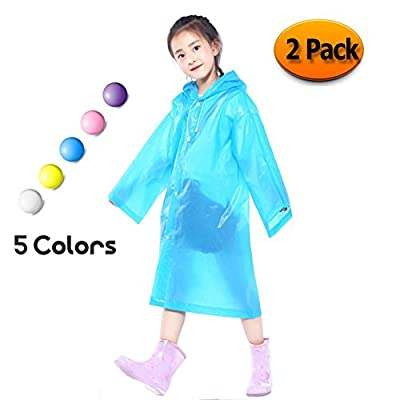 Kids Children Rain Poncho - Portable PVC Lightweight Waterproof Emergency Raincoat for Girls Boys with Hoods and Sleeves Perfect for Outdoor Activities Blue (2 Pack) by Eklead
