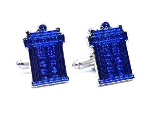 Beaux Bijoux Boutons de Manchette Tardis Bleus inspirés par Dr. Who - Accessoires de Chemise pour Homme