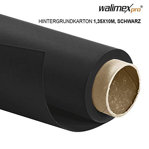 Walimex pro Papierhintergrund schwarz 1,35m x 10m, Nahtloser Hintergrundkarton, ideal für Fotografie, Video, Portrait, für Hintergrundsystem, Fotohintergrund, Studiobedarf und Fotostudiohintergrund
