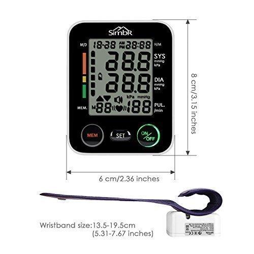 SIMBR Misuratore di Pressione da Polso Digitale per Uso Domestico Completamente Automatico e Precisione,Monitor della Pressione Arteriosa con 180 Memorie per 2 Utenti, Portatile,Certifica CE/ROHS/FDA - 4