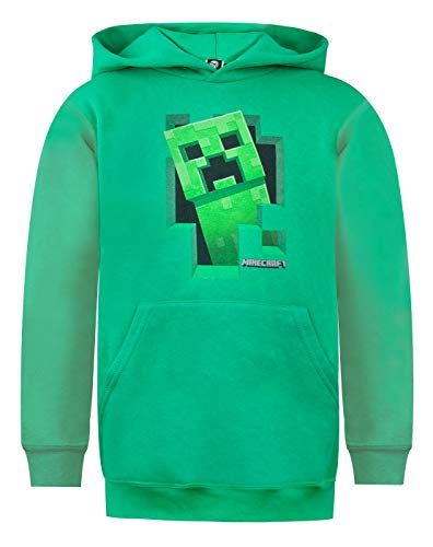 Minecraft Creeper Inside Boy's Green Hoodie (13-14 -